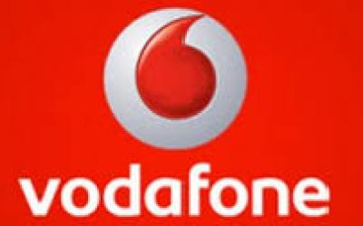 Logo Vodafone sobre fondo rojo