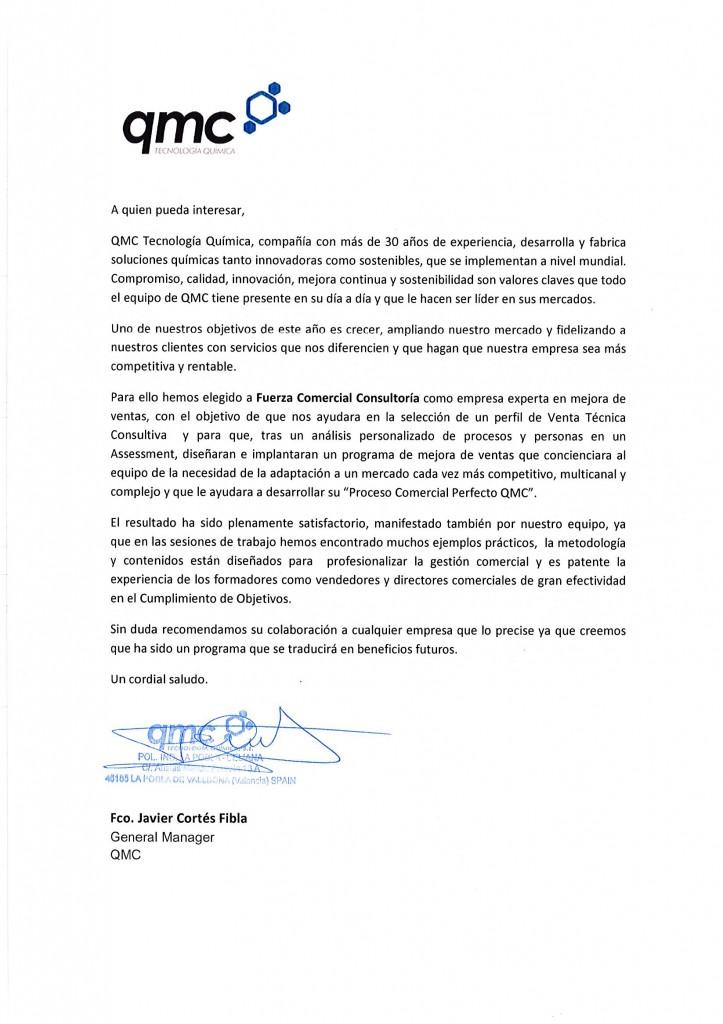 Carta Recomendacion Sector Quimico B2B QMC Seleccion y Formacion