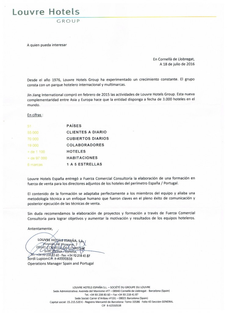 Carta Recomendacion LOUVRE HOTELS