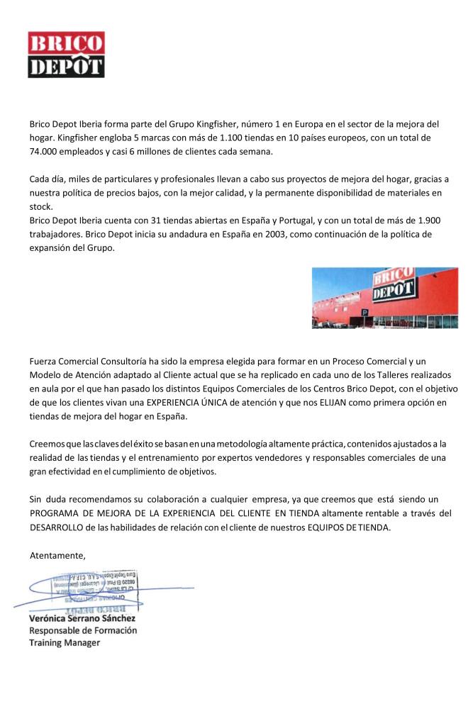 Carta Recomendacion BRICO DEPOT